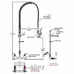 12 Wall Mount Commercial Pre-Rinse Faucet Kitchen Pull Out Down Sink Black New