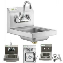 12 X 16 HAND WASH SINK Faucet Wall Mount Restaurant Stainless Steel Commercial