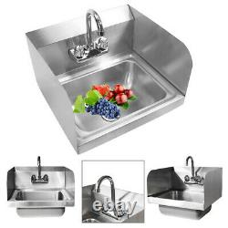 17 Commercial Kitchen Stainless Steel Wall Mount Hand Sink with Side Splashes New
