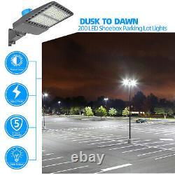 200W LED Parking Lot Shoebox Area Light Street Pole Lighting Fixture Wall Mount