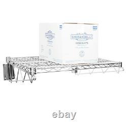 24 x 24 Wall Mount Chrome Wire Shelf Rack Commercial Restaurant Pot Pan Pantry