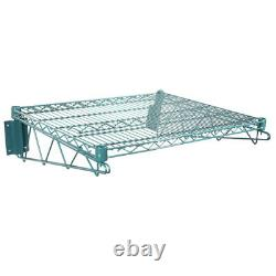 24 x 24 Wall Mount Green Epoxy Wire Shelf Rack Commercial Restaurant Pot NSF