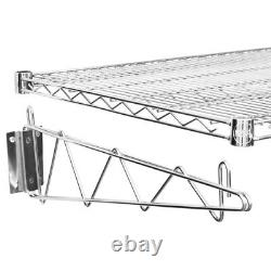 24 x 48 Wall Mount Chrome Wire Shelf Rack Commercial Restaurant Pot Pantry NSF