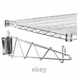 24 x 60 Wall Mount Chrome Wire Shelf Rack Commercial Restaurant Pot Pan Store