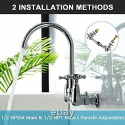 2-Handle Wall-Mount Kitchen Sink Faucet 8 Inches Center Commercial Faucet Heavy