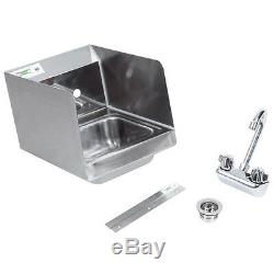 2 PACK 12 x 16 Wall Mount Hand Wash Sink with FAUCET Commercial Stainless Steel