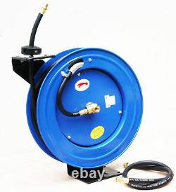 50' x 3/8 RUBBER AIR HOSE WithCEILING WALL MOUNT AUTO RETRACTABLE REWIND REEL