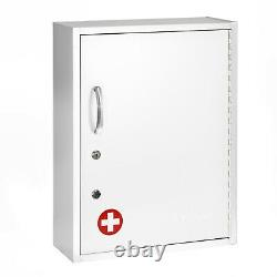 AdirMed White Steel Dual Lock Commercial Medicine Cabinet with Pullout Shelf