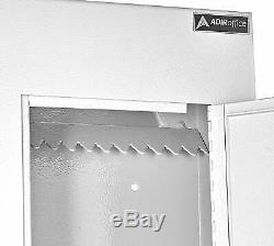 AdirOffice White Steel Mail Box Through-the-Wall Paper Key Drop Box With Chute