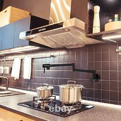 Black Pot Filler Faucet Commercial Kitchen Single Hole Wall Mount Folding