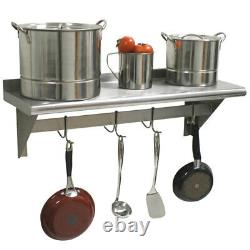 CMI 15 x 72 Commercial Wall Mounted Pot Rack with Shelf and Hooks