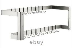 CMI 72 Wall Mounted Commercial Stainless Steel Double Line Pot Rack