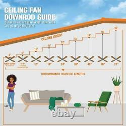 Ceiling Fan Indoor Outdoor Brushed Steel Wall Control Home Industrial Reversible