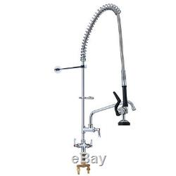 Chrome Commercial Wall Mount Kitchen Sink Faucet Brass Pre-Rinse Device Spray