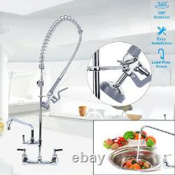 Commercial 8 Center Wall Mount Pre-Rinse Faucet Add-on Spout Pull Down Sprayer