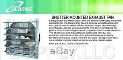 Commercial Exhaust Fan Wall Mount Shutter 36 Single Speed Greenhouse Workshop