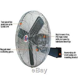 Commercial Fan 20 Wall Mount Oscillating 90 2 Speed 1/4 HP Air Over Motor
