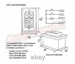 Commercial Garage Door Opener 3 Button Wall Mount LCE- 3 Control Station