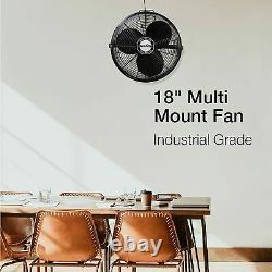 Commercial Grade Ceiling Mount Fan 18 3-Speed Air Circulator Garage 3190 CFM