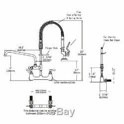 Commercial Kitchen Sink Faucet With Pre-Rinse Sprayer Brass Constructed Wall Mount