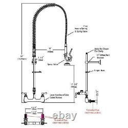 Commercial Pre-Rinse Faucet with 12 Add-On Wall Mount Faucet Mixer Tap Dishwasher