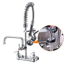 Commercial Sink Faucet Pr Rinse Sprayer 8 inch Center Wall Mount Kitchen Faucet