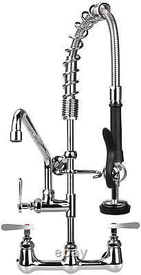 Commercial Sink Faucet With Pre Rinse Sprayer 8 Inch Center Wall Mount Kitchen