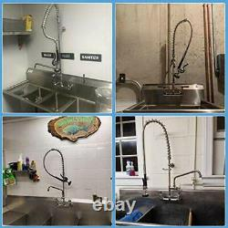 Commercial Sink Faucet with Pre-Rinse Sprayer 8 Inch Center Wall Mount