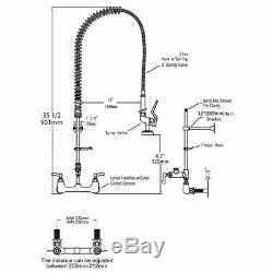 Commercial Sink Faucet with Pre-Rinse Sprayer Wall Mount Kitchen Faucet Chrome