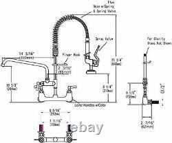 Commercial Sink Faucet with Pre-rinse Sprayer 8 Inch Center Wall Mount Faucet