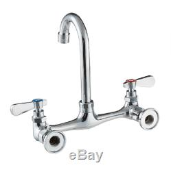 Commercial Wall Mount Faucet 8 Centers 8 Gooseneck Nozzle Utility Dish Sink