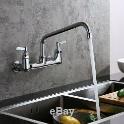 Commercial Wall Mount Kitchen Mixer Tap 12 Swing Spout Chrome 8 Inch Centre Tap