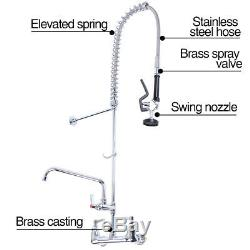 Commercial Wall Mount Kitchen Pre-Rinse Faucet with Add-On Restaurant Flexible Tap
