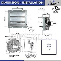 Commercial Wall Mount Shutter Exhaust Fan 12 with Controller Garage Shed Barn