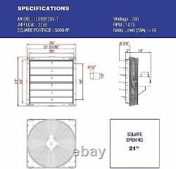 Commercial Wall Mount Shutter Exhaust Fan 20 with 2 Speed Thermostat Shed Barn