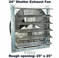 Commercial Wall Mount Shutter Exhaust Fan 24 Workshop Storage Garage Shed Barn