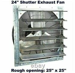 Commercial Wall Mount Shutter Exhaust Fan 24 with 2 Speed Thermostat Shed Barn
