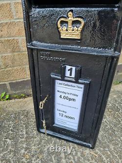 ER Royal Mail Black Post Office Box Cast Iron Wall Mount Letter Slot Lockable
