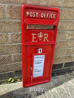 ER Royal Mail Post Office Box Front Red Cast Iron Wall Mount Letter Slot Locking