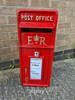 ER Royal Mail Post Office Pillar Box Red Cast Iron Wall Mount Letter Slot 2 Keys