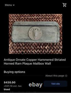 Extremely Rare Solid brass wall mounted mailbox With ribs & hammered details