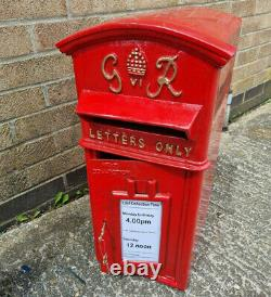GR Royal Mail Post Box Red Cast Iron George VI Wall Mounted Letter Slot Lockable