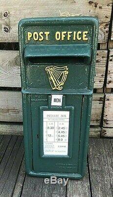 Green Irish Post Box with Harp Irish Harp Post box post and telegraph