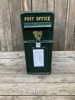 Green Irish post box with Harp Irish Harp post and telegraph