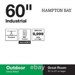 Hampton Bay Ceiling Fan Wall Control Industrial 60 Indoor/Outdoor Brushed Steel