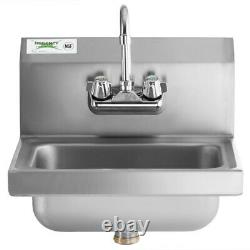 Hand Wash Sink with FAUCET Commercial Stainless Steel Wall Mount Kit NSF 17 x 15