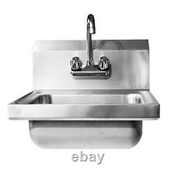 Heavy Duty Stainless Steel Hand Wash Sink Washing Wall Mount Commercial Kitchen