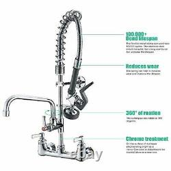 IMLEZON Commercial Wall Mount Kitchen Sink Faucet Brass Constructed Polished