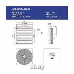 Iliving Exhaust Fan Wall Mounted Single Speed Shutter Aluminum 36 Inch ILG8SF36S