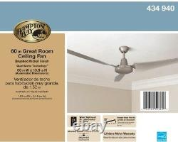 Industrial High-Power 60 inch 3-Blades Brushed Steel Energy Star Ceiling Fan